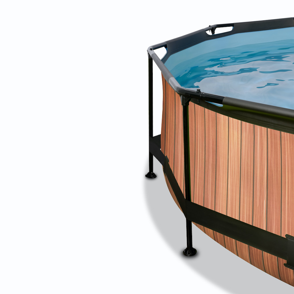 EXIT Wood zwembad ø244x76cm met overkapping en filterpomp - bruin