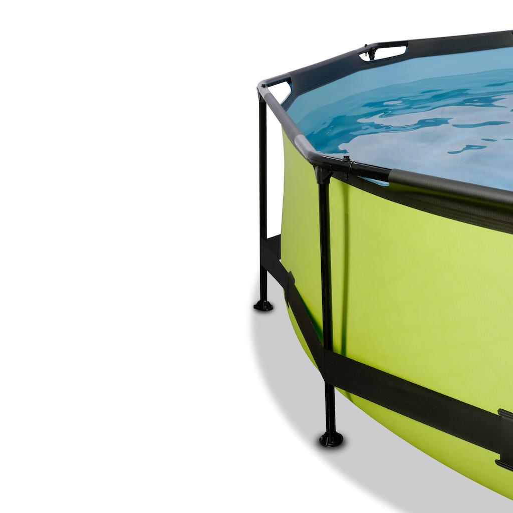EXIT Piscine à la chaux ø244x76cm avec auvent et pompe de filtration - vert