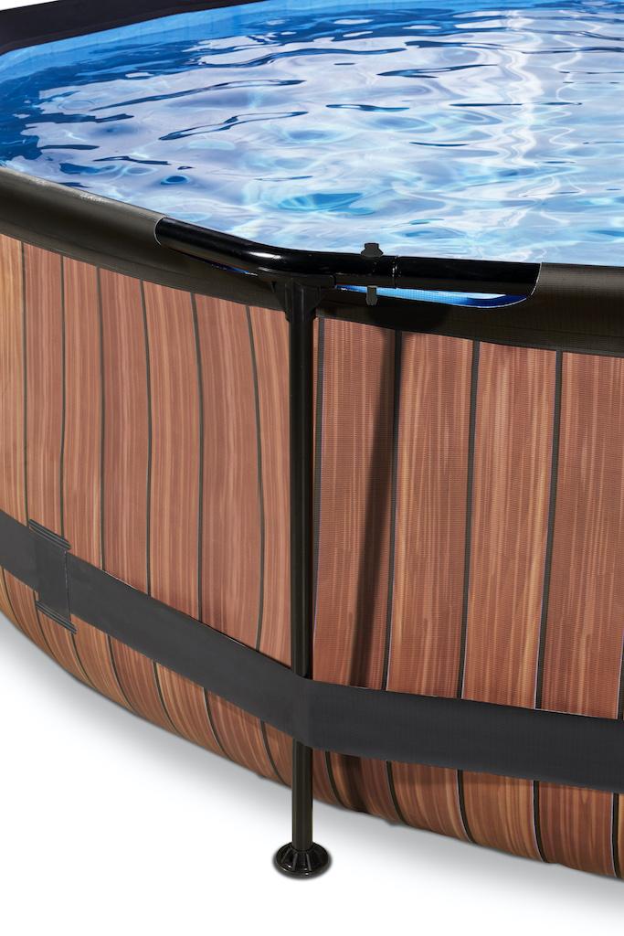 EXIT Wood zwembad ø300x76cm met overkapping en filterpomp - bruin