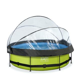 EXIT Lime zwembad ø300x76cm met overkapping en filterpomp - groen