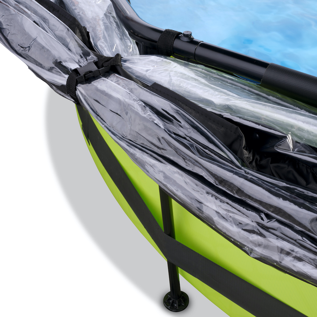 EXIT Piscine à la chaux ø300x76cm avec auvent et pompe de filtration - vert