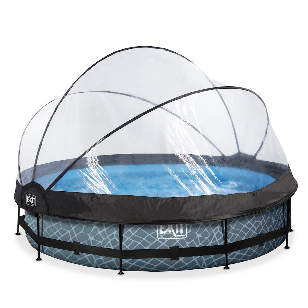 EXIT Stone piscine ø360x76cm avec auvent et pompe de filtration - gris