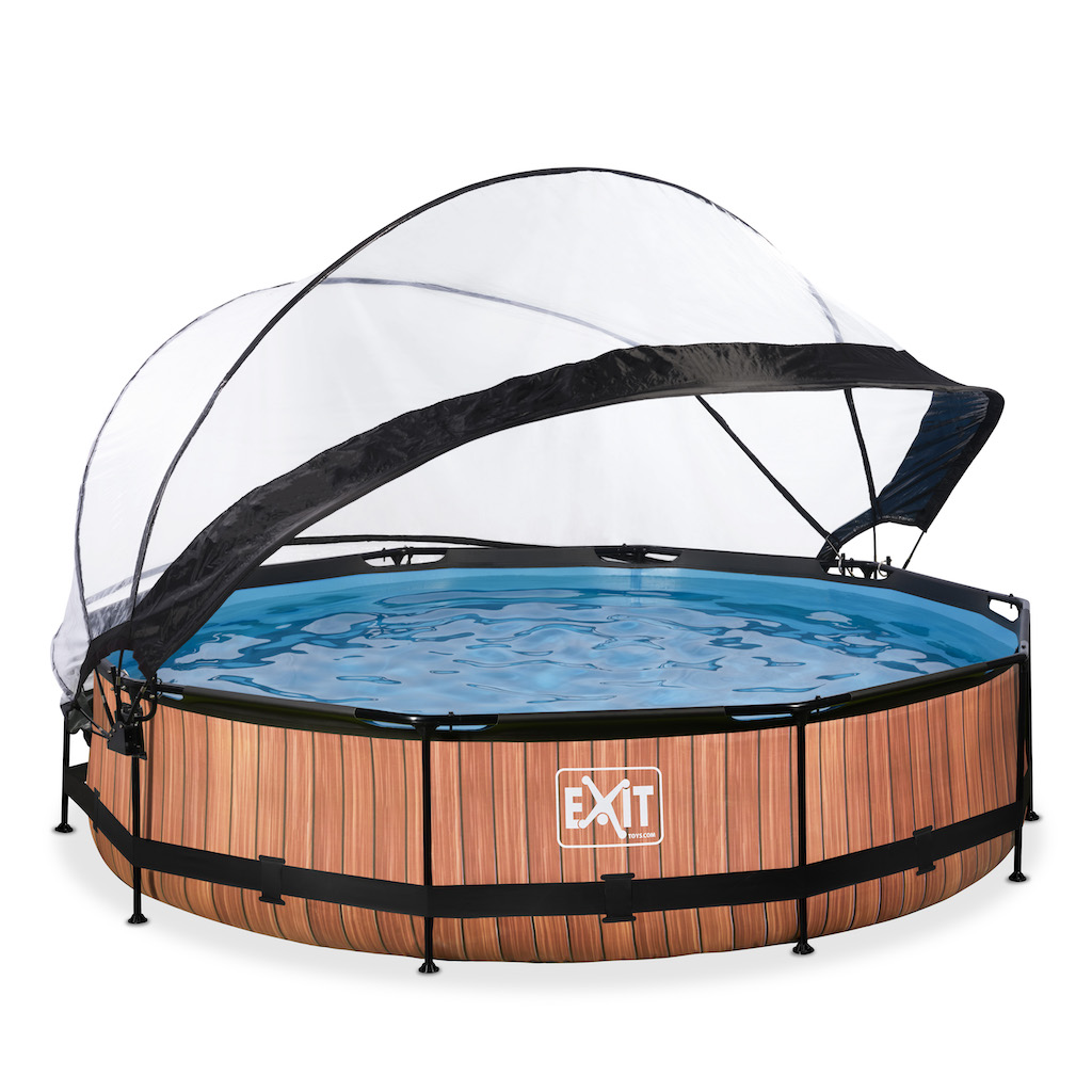 EXIT Wood zwembad ø360x76cm met overkapping en filterpomp - bruin