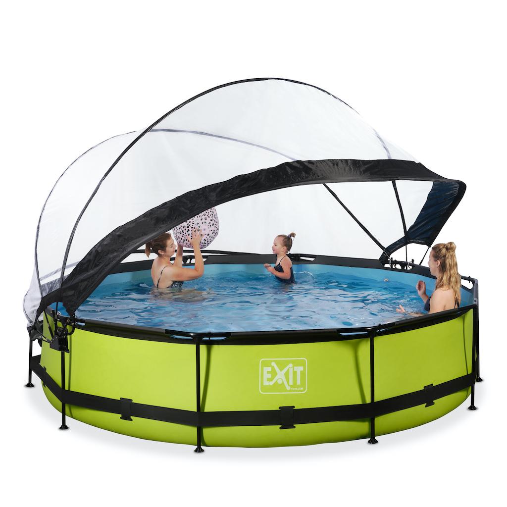 EXIT Lime zwembad ø360x76cm met overkapping en filterpomp - groen