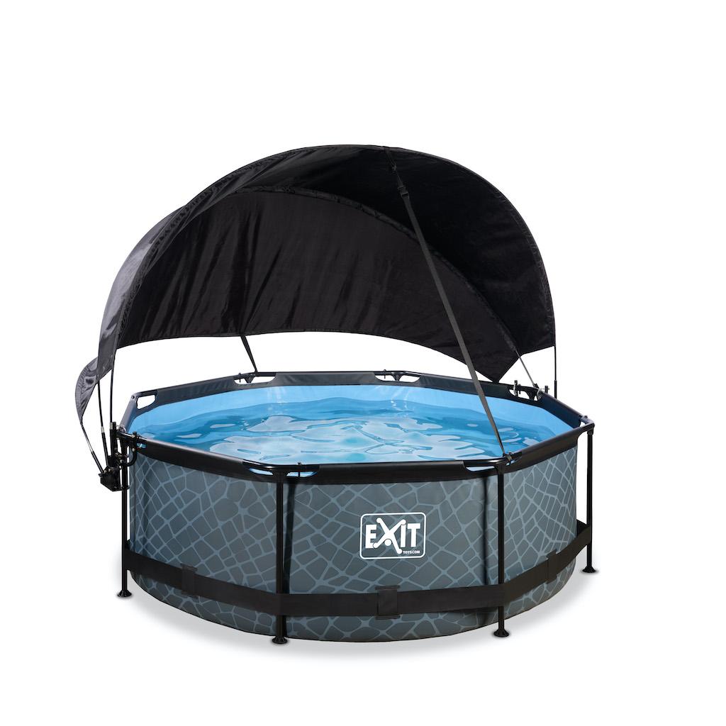 EXIT Stone zwembad ø244x76cm met schaduwdoek en filterpomp - grijs