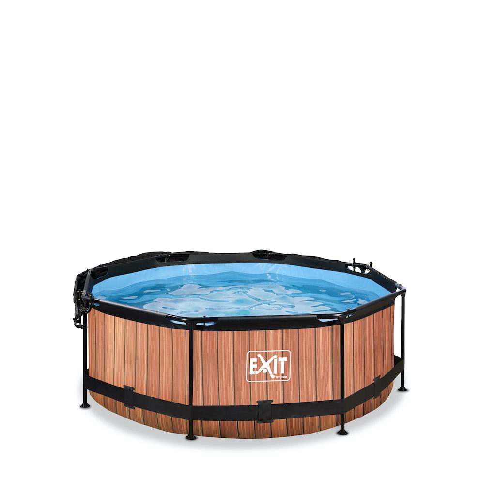 EXIT Wood zwembad ø244x76cm met schaduwdoek en filterpomp - bruin