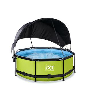 EXIT Lime zwembad ø244x76cm met schaduwdoek en filterpomp - groen