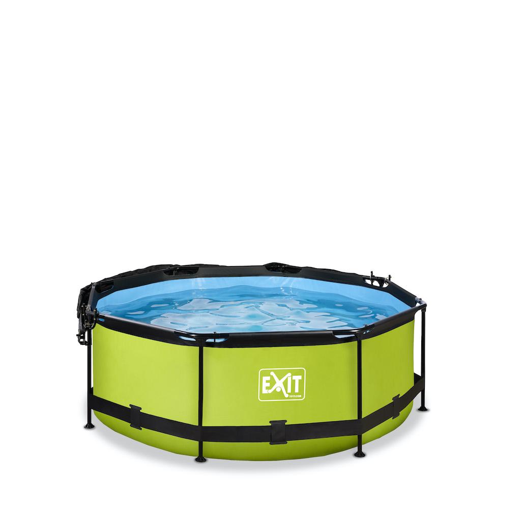 EXIT Piscine à la chaux ø244x76cm avec toile d'ombrage et pompe à filtre - vert