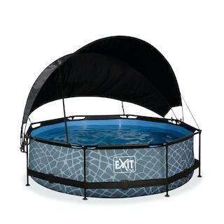 EXIT Stone zwembad ø300x76cm met schaduwdoek en filterpomp - grijs