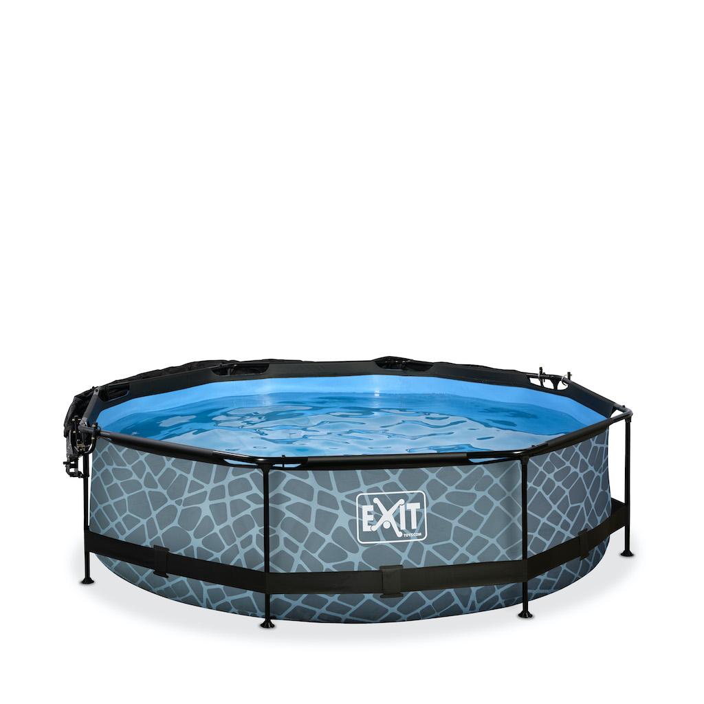 EXIT Stone piscine ø300x76cm avec toile d'ombrage et pompe filtrante - gris