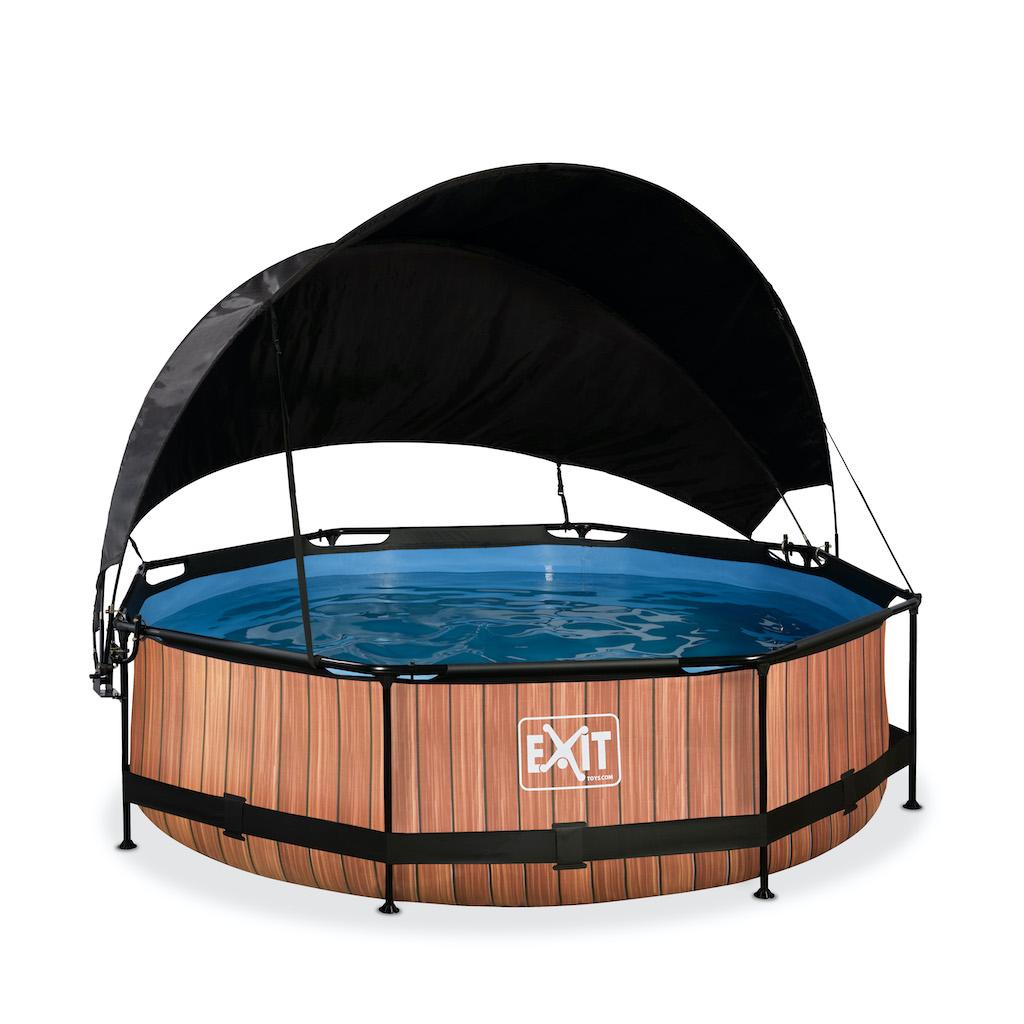 EXIT Wood zwembad ø300x76cm met schaduwdoek en filterpomp - bruin