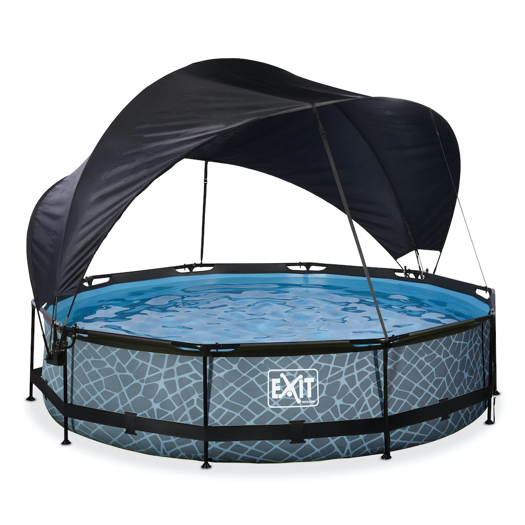 EXIT Stone piscine ø360x76cm avec toile d'ombrage et pompe à filtre - gris