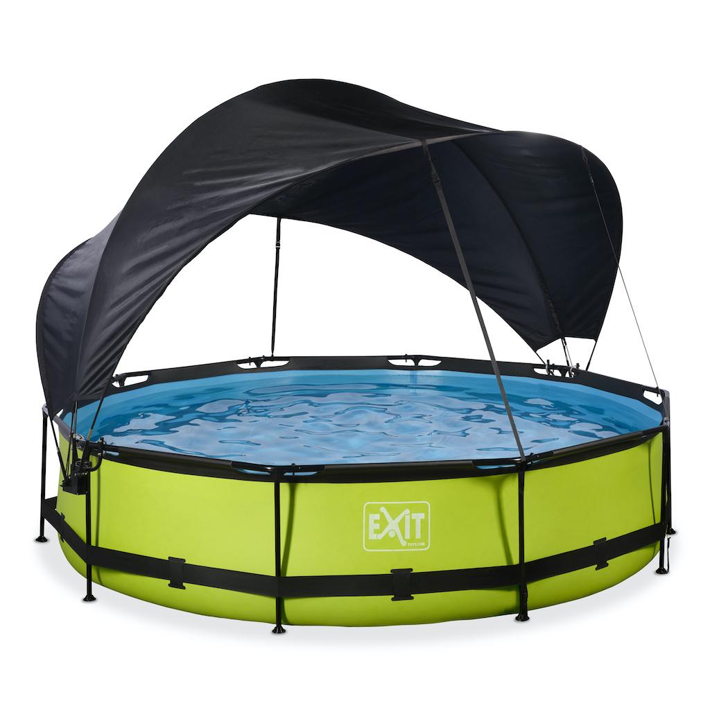 EXIT Lime zwembad ø360x76cm met schaduwdoek en filterpomp - groen