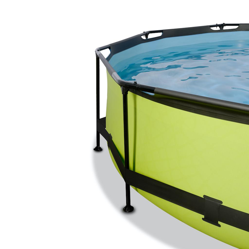 EXIT Piscine à la chaux ø360x76cm avec toile d'ombrage et pompe à filtre - vert