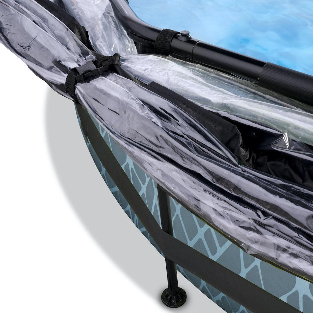 EXIT Stone zwembad ø244x76cm met overkapping, schaduwdoek en filterpomp - grijs