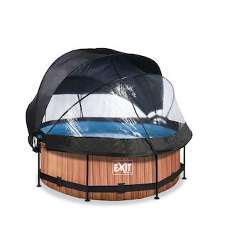 EXIT Wood zwembad ø244x76cm met overkapping, schaduwdoek en filterpomp - bruin