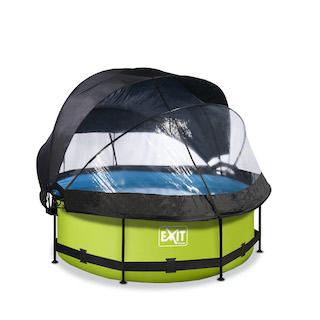 EXIT Lime zwembad ø244x76cm met overkapping, schaduwdoek en filterpomp - groen