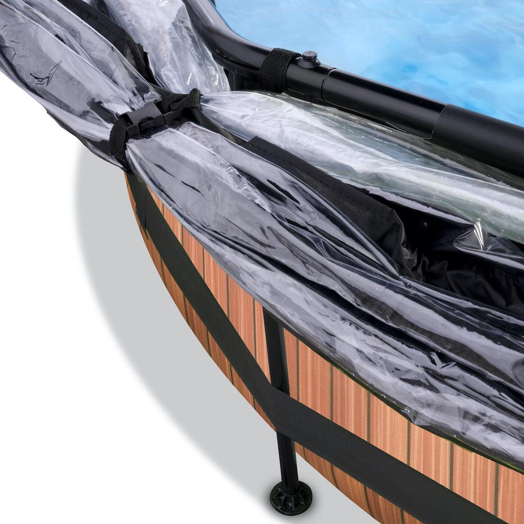 EXIT Wood zwembad ø300x76cm met overkapping, schaduwdoek en filterpomp - bruin