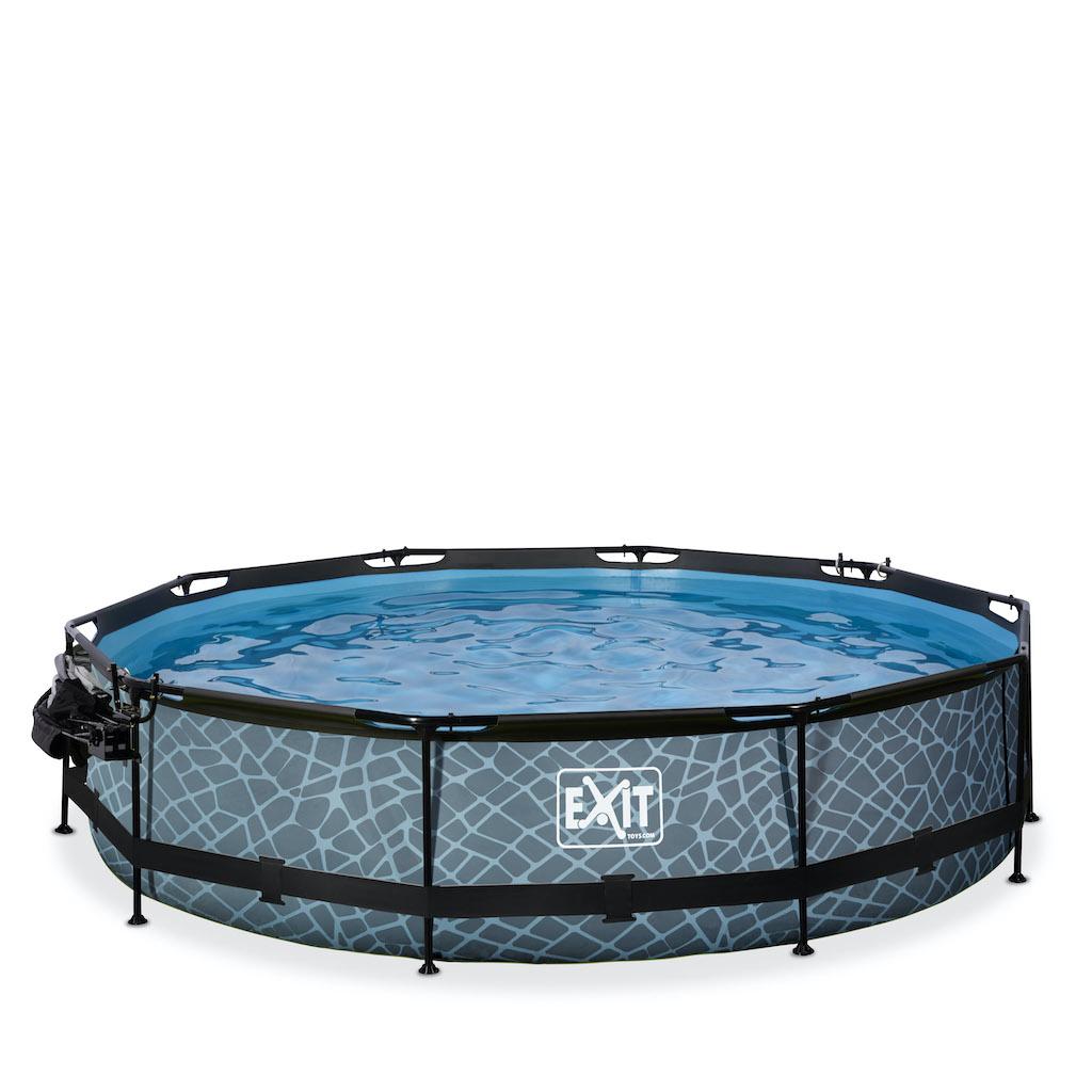 EXIT Stone zwembad ø360x76cm met overkapping, schaduwdoek en filterpomp - grijs