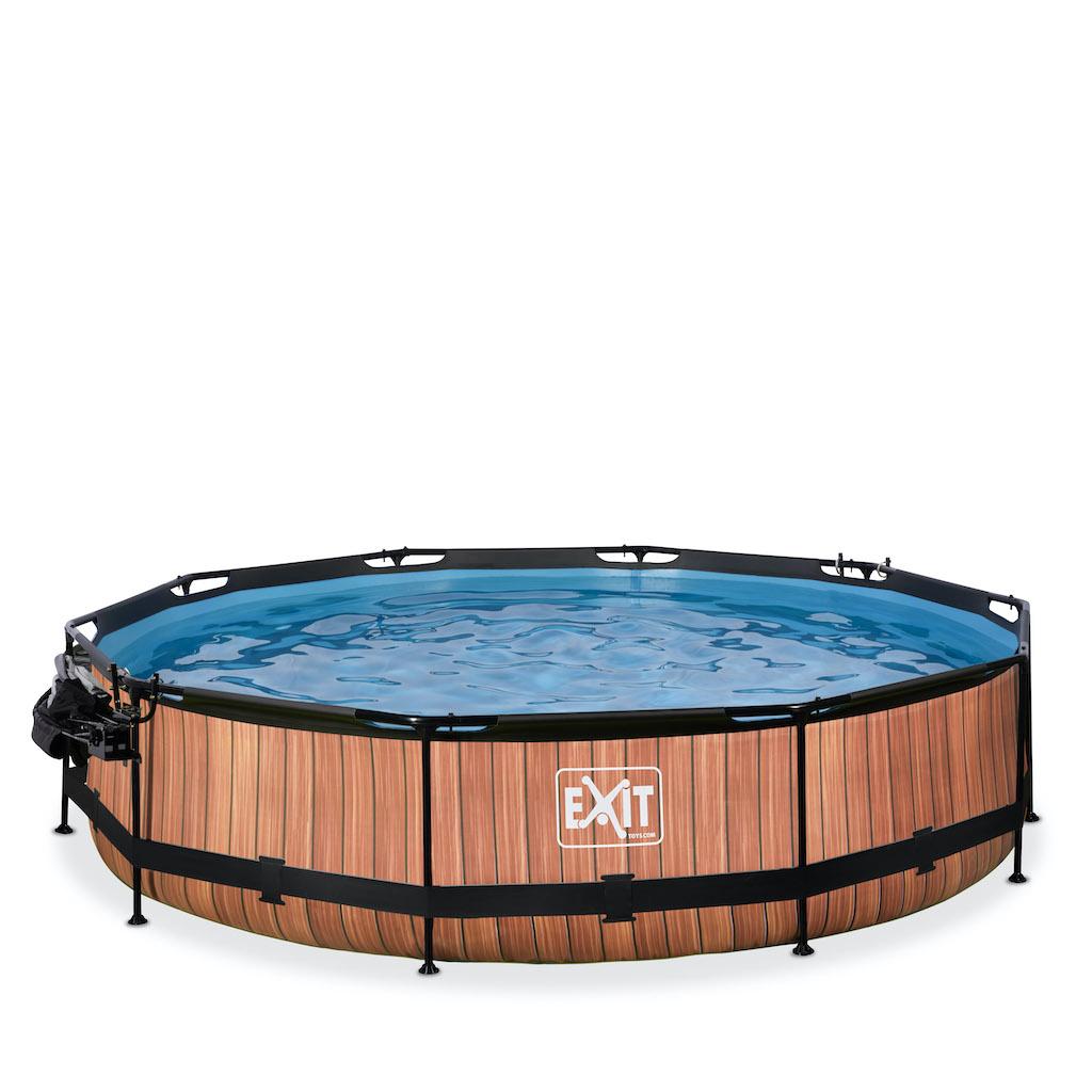 EXIT Wood zwembad ø360x76cm met overkapping, schaduwdoek en filterpomp - bruin