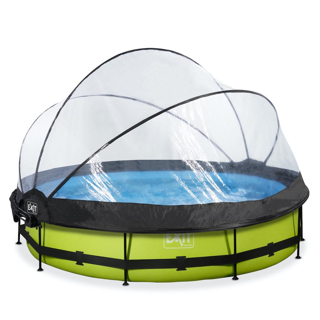 EXIT Lime zwembad ø360x76cm met overkapping, schaduwdoek en filterpomp - groen