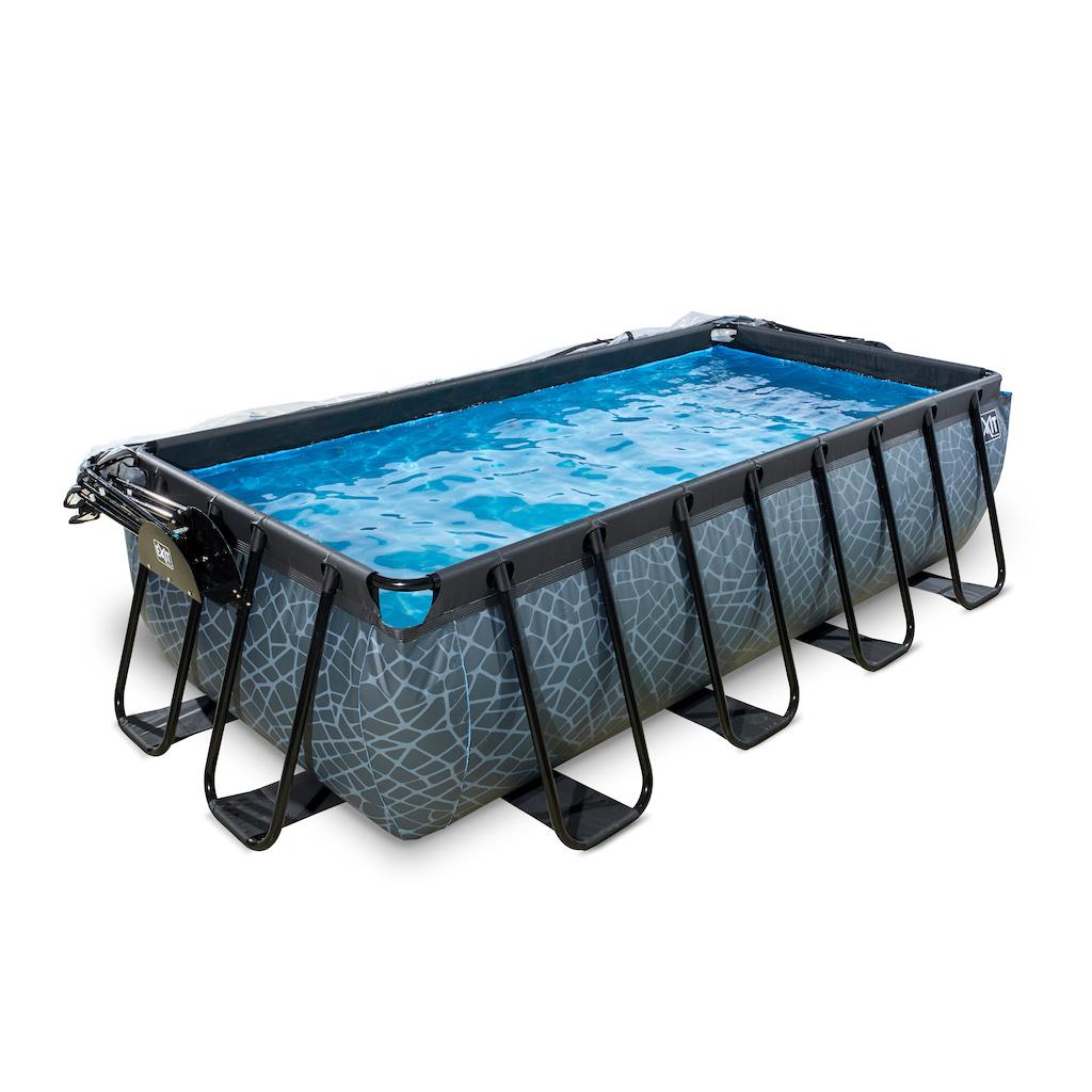 EXIT Stone zwembad 400x200cm met overkapping en zandfilterpomp - grijs