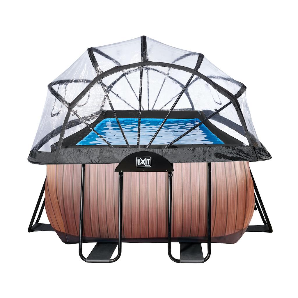EXIT Wood zwembad 400x200cm met overkapping en zandfilterpomp - bruin