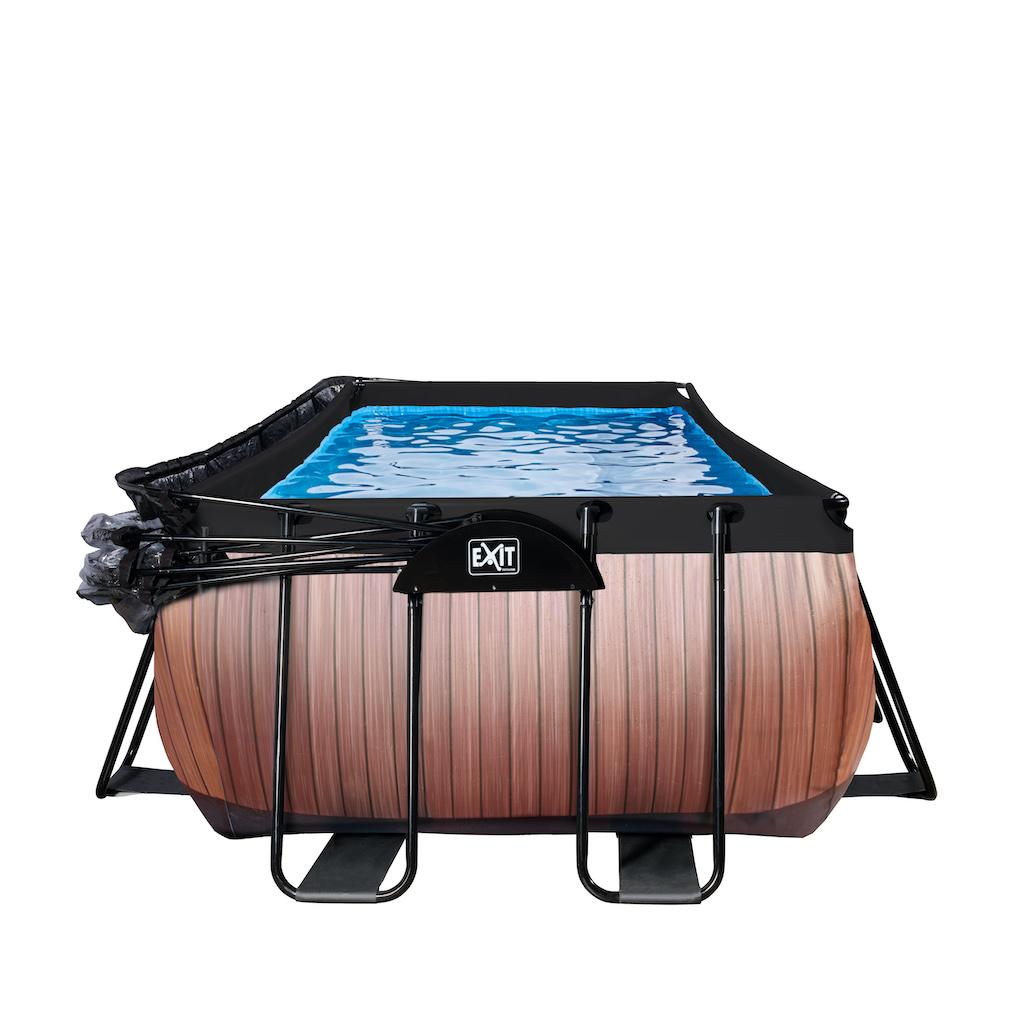 EXIT Piscine bois 400x200cm avec couvercle et pompe à sable - marron