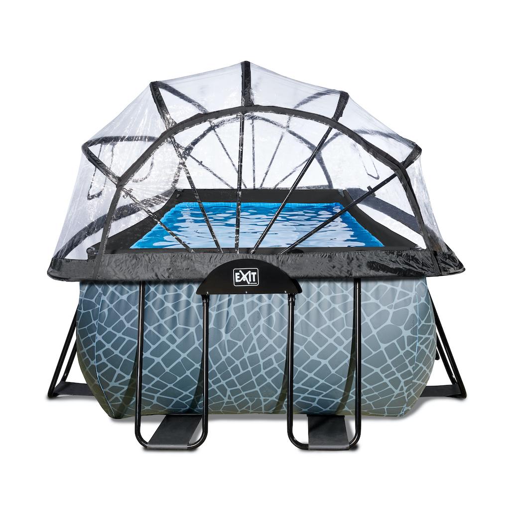 EXIT Stone zwembad 540x250cm met overkapping en zandfilterpomp - grijs