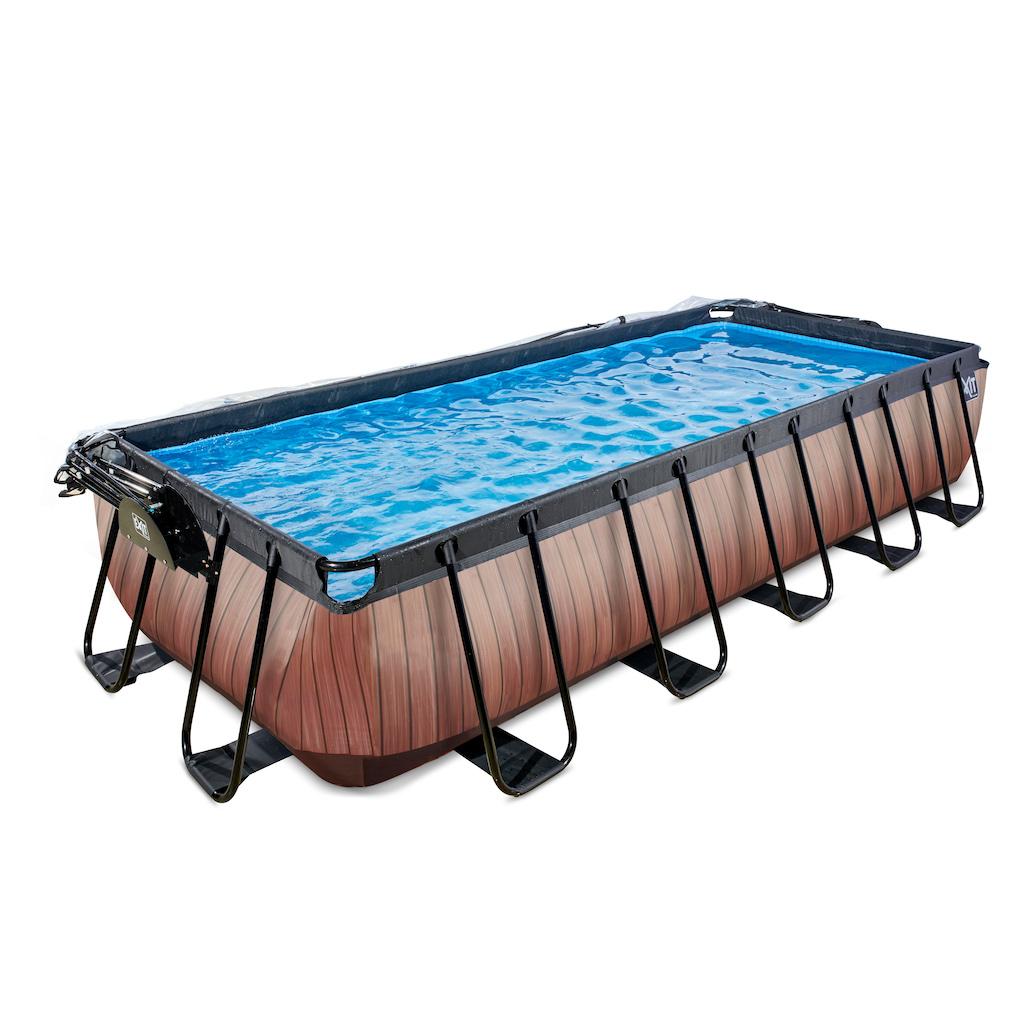 EXIT Wood zwembad 540x250cm met overkapping en zandfilterpomp - bruin