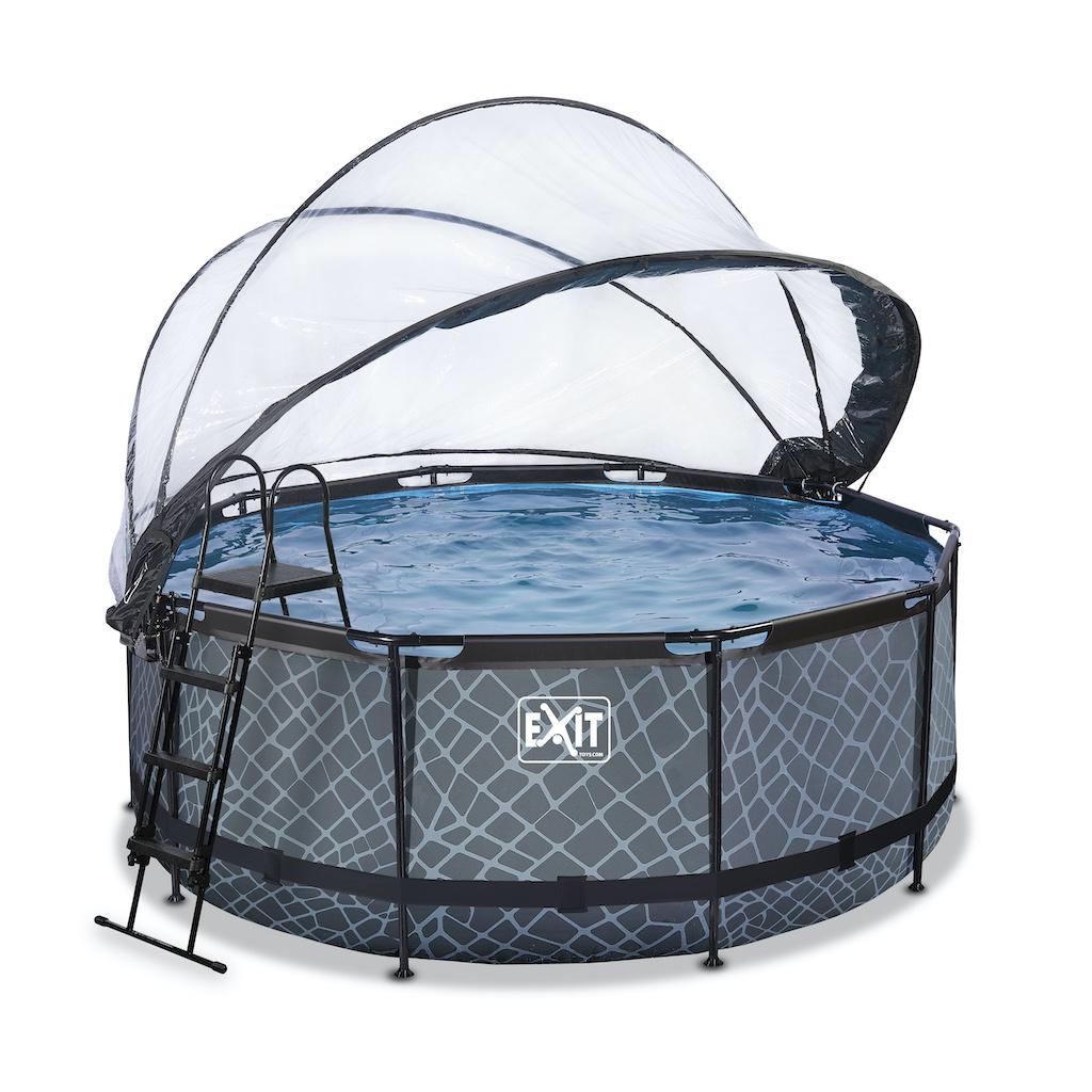 EXIT Stone piscine ø360x122cm avec auvent et pompe filtre à sable - gris