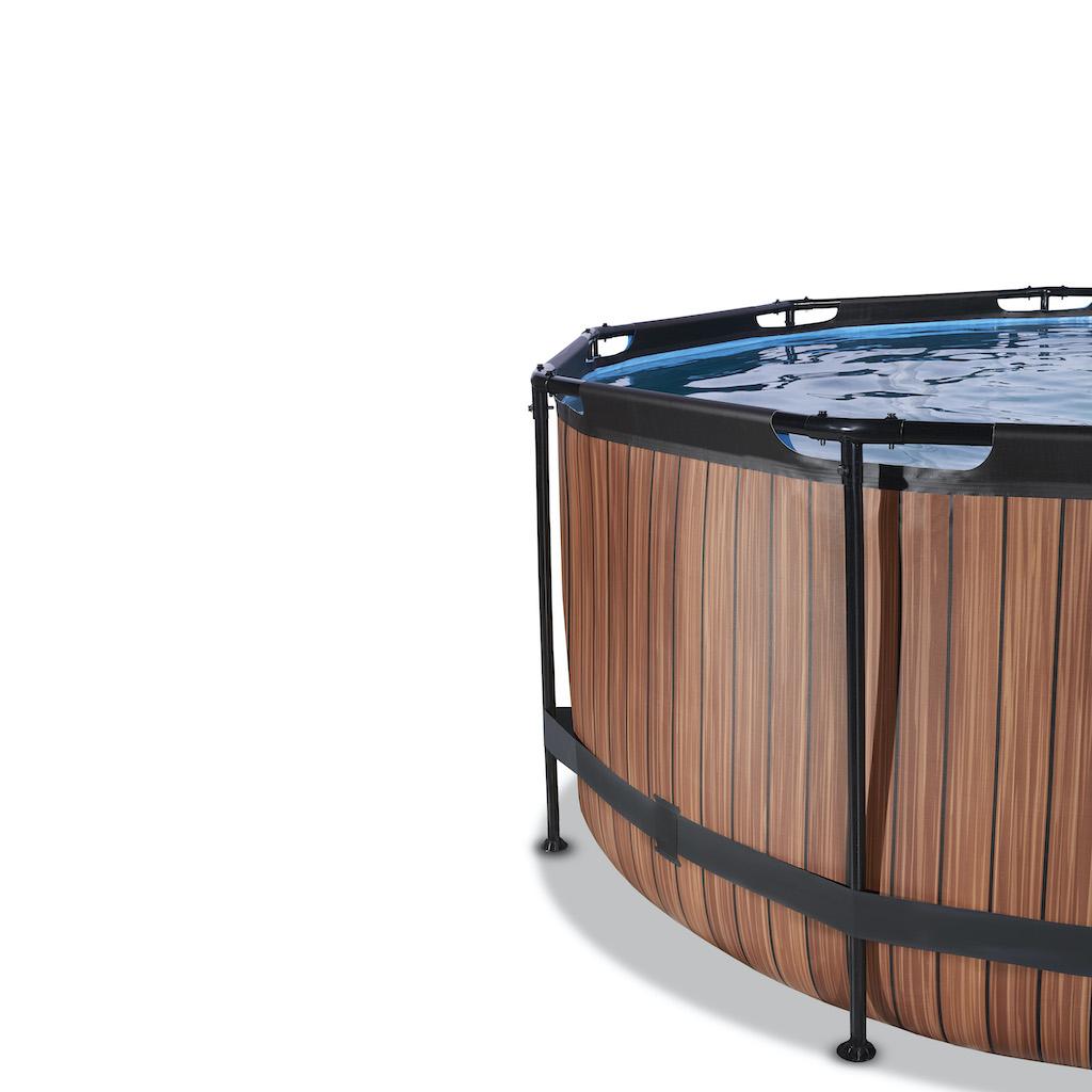EXIT Piscine bois ø360x122cm avec auvent et pompe filtre à sable - marron