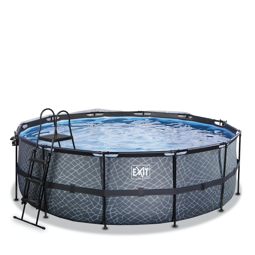 EXIT Stone zwembad ø427x122cm met overkapping en zandfilterpomp - grijs