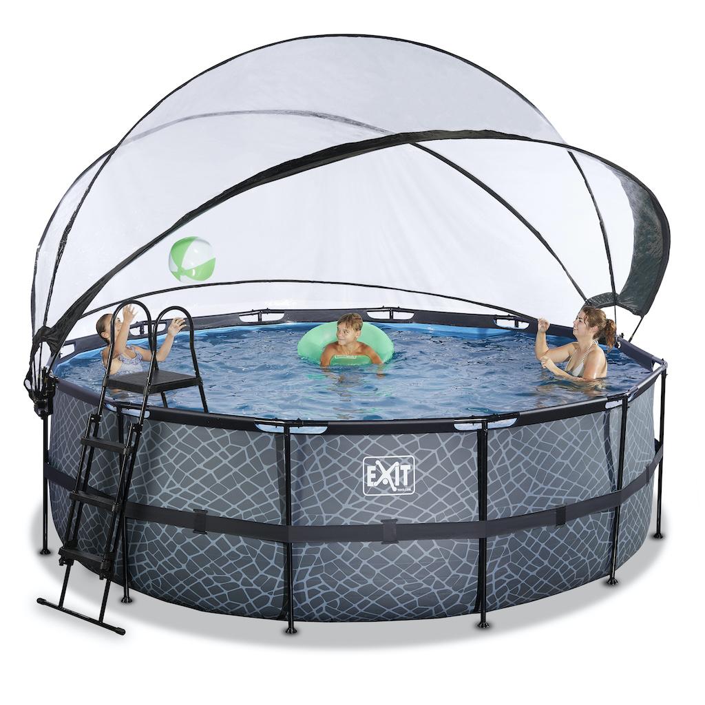 EXIT Stone piscine ø427x122cm avec auvent et pompe à sable - gris