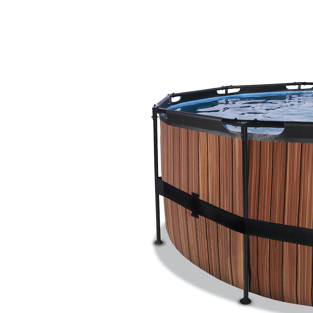 EXIT Piscine bois ø427x122cm avec auvent et pompe filtre à sable - marron