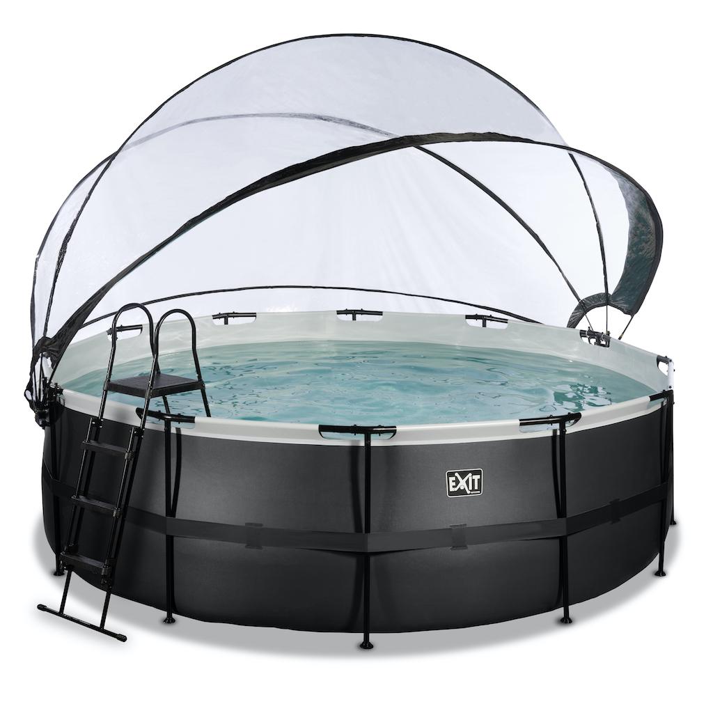 EXIT Black Leather zwembad ø427x122cm met overkapping en zandfilterpomp - zwart