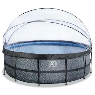 EXIT Stone zwembad ø450x122cm met overkapping en zandfilterpomp - grijs