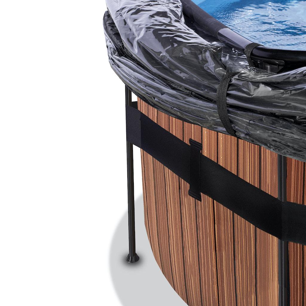 EXIT Piscine bois ø450x122cm avec auvent et pompe filtre à sable - marron