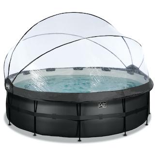 EXIT Black Leather zwembad ø450x122cm met overkapping en zandfilterpomp - zwart