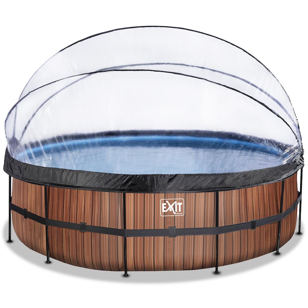 EXIT Wood zwembad ø488x122cm met overkapping en zandfilterpomp - bruin