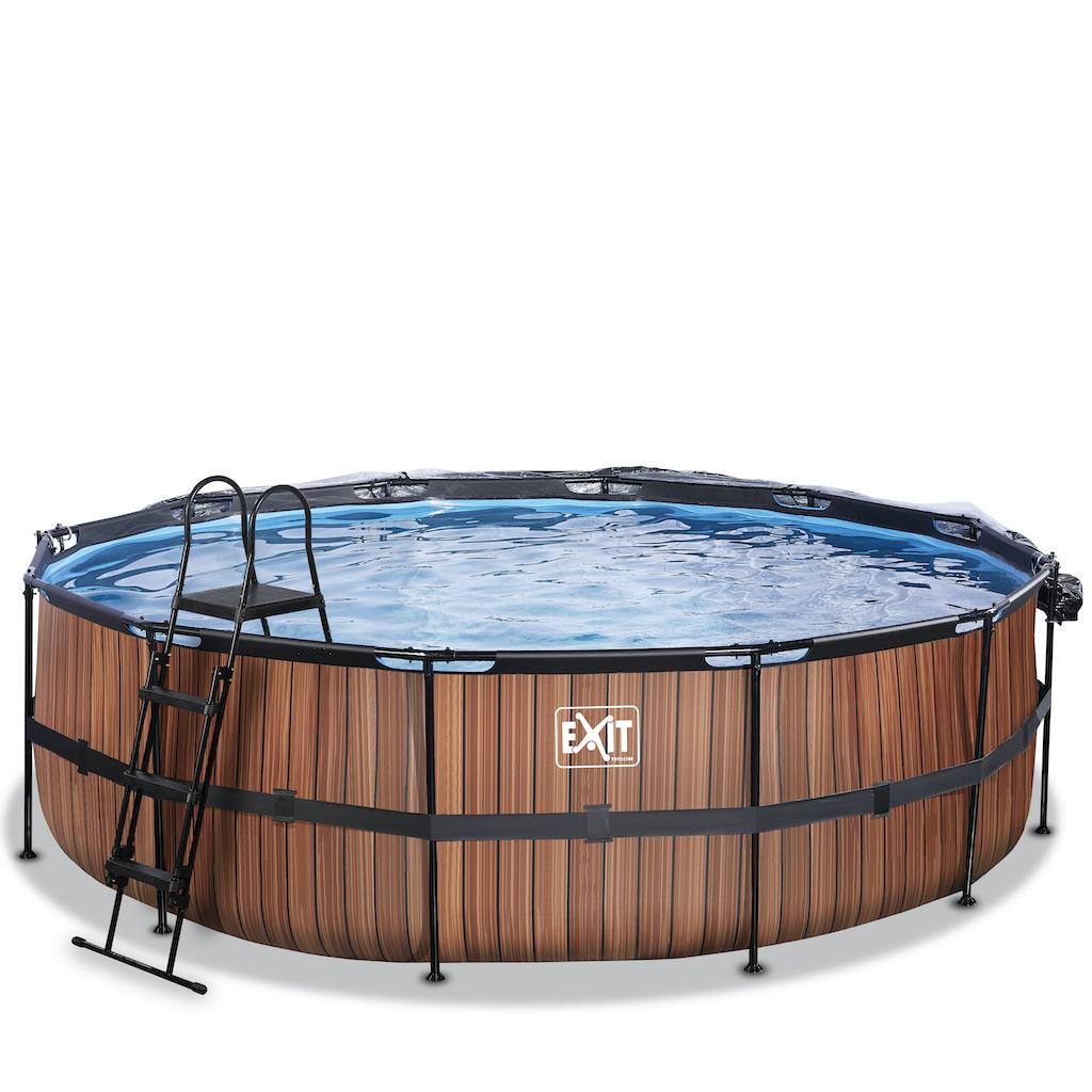 EXIT Piscine bois ø488x122cm avec auvent et pompe filtre à sable - marron