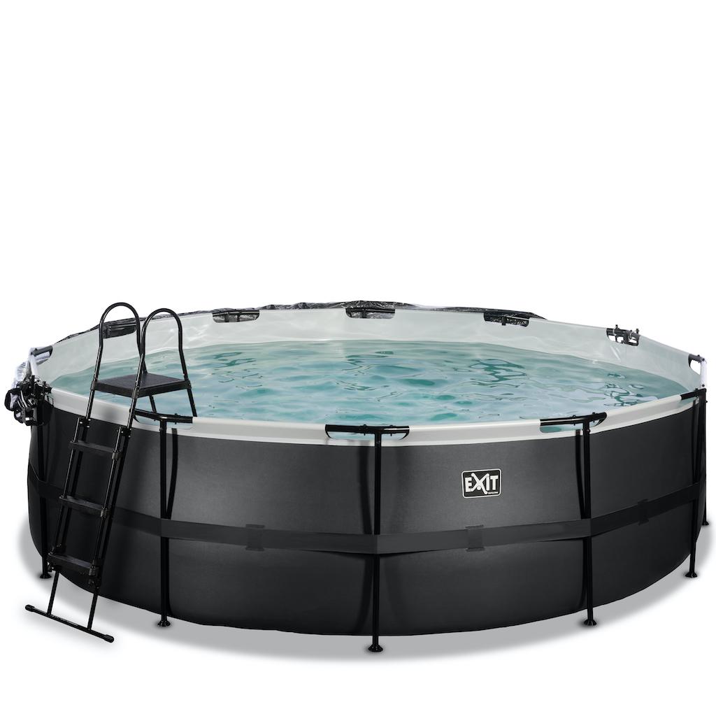 EXIT Black Leather zwembad ø488x122cm met overkapping en zandfilterpomp - zwart