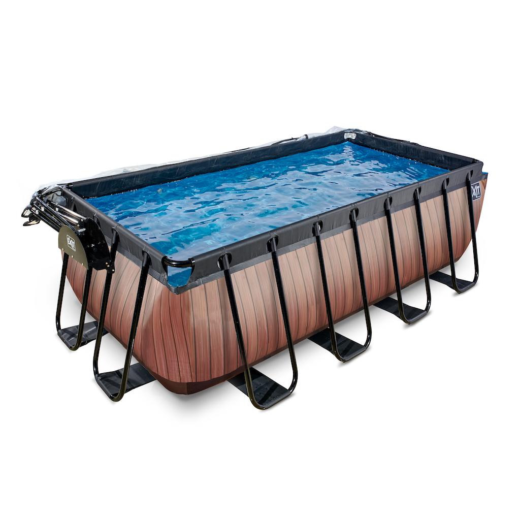 EXIT Wood zwembad 400x200x122cm met overkapping en zandfilterpomp - bruin
