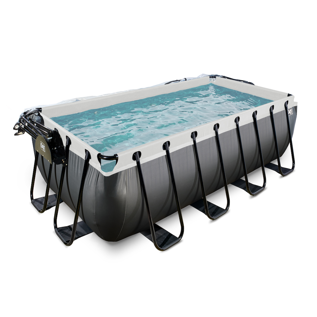 EXIT Black Leather zwembad 400x200x122cm met overkapping en zandfilterpomp - zwart