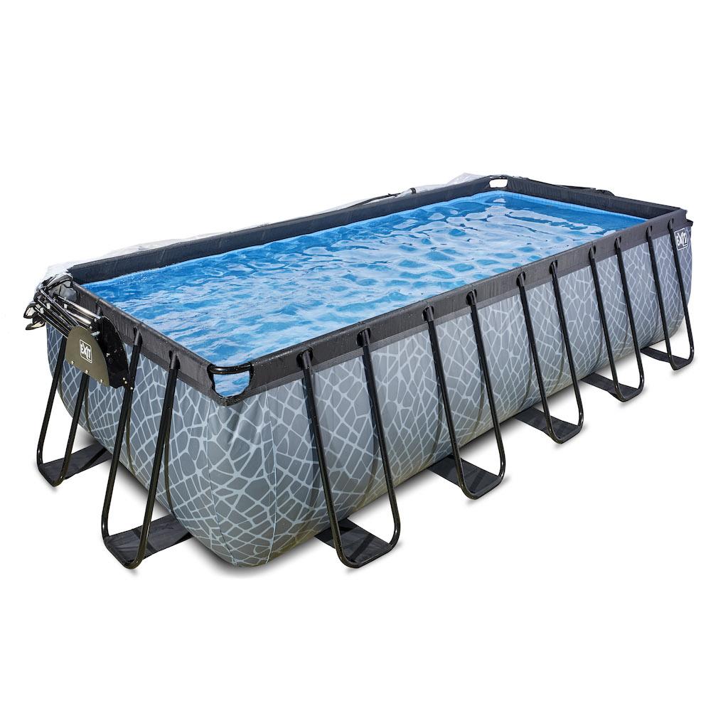 EXIT Stone zwembad 540x250x122cm met overkapping en zandfilterpomp - grijs
