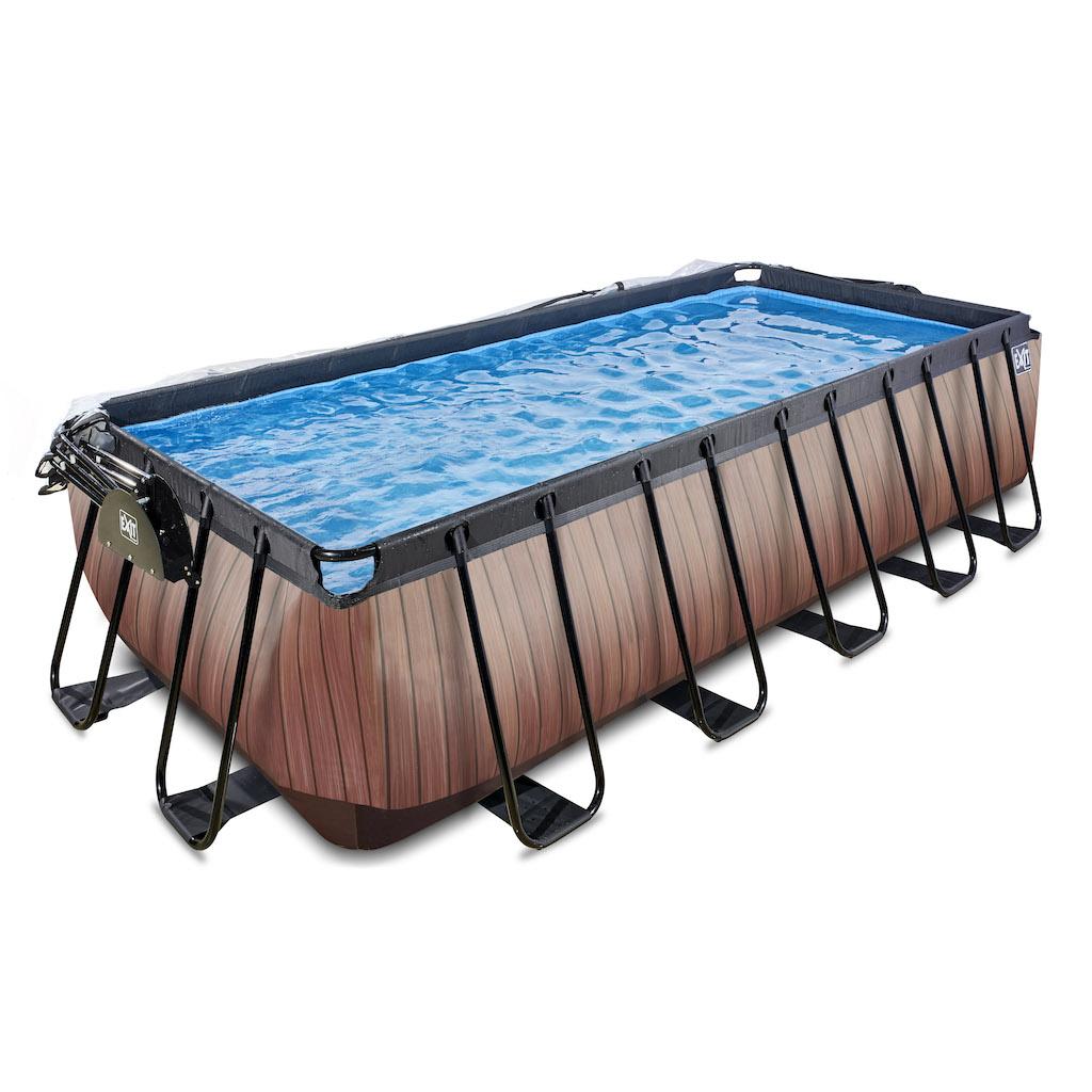 EXIT Wood zwembad 540x250x122cm met overkapping en zandfilterpomp - bruin
