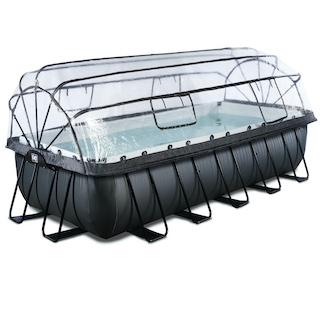 EXIT Black Leather zwembad 540x250x122cm met overkapping en zandfilterpomp - zwart