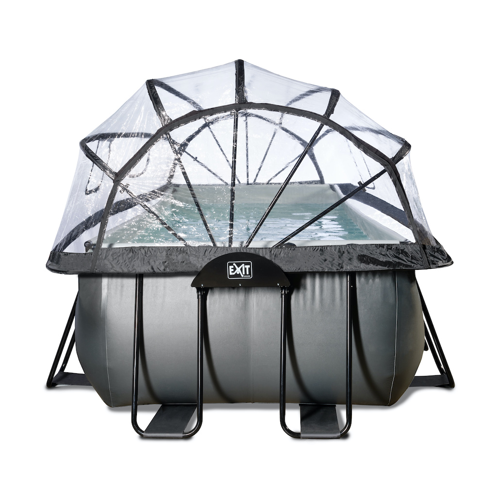 EXIT Piscine en cuir noir 540x250x122cm avec couvercle et pompe à filtre à sable - noir