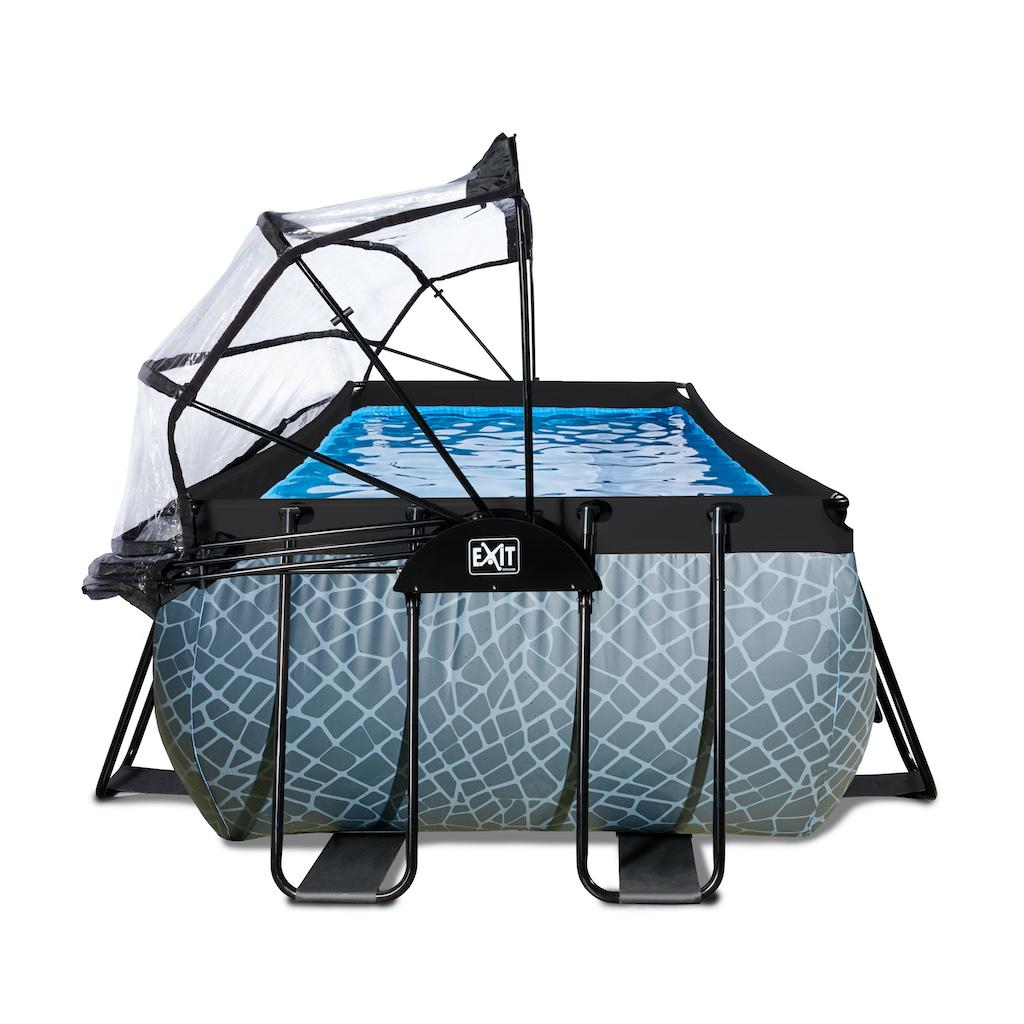 EXIT Stone zwembad 400x200x100cm met overkapping en zandfilter- en warmtepomp - grijs