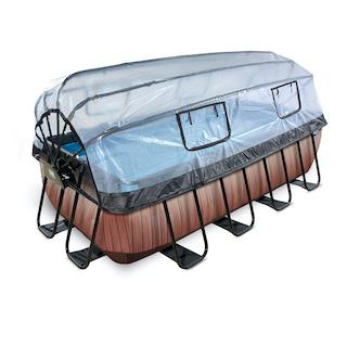 EXIT Wood zwembad 400x200x100cm met overkapping en zandfilter- en warmtepomp - bruin